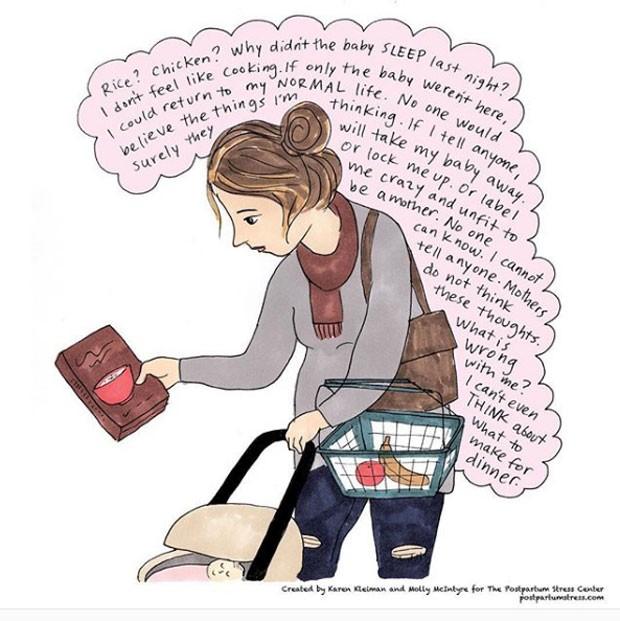 Tirinhas sobre depressão e ansiedade no pós-parto (Foto: Reprodução / Instagram)