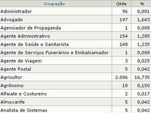 Lista de profissões dos candidatos da Paraíba  (Foto: Reprodução/ TSE)