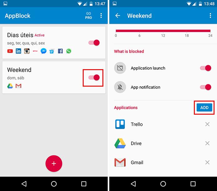 No fim de semana, bloqueie apps que você costuma usar no trabalho (Foto: Reprodução/Paulo Alves)