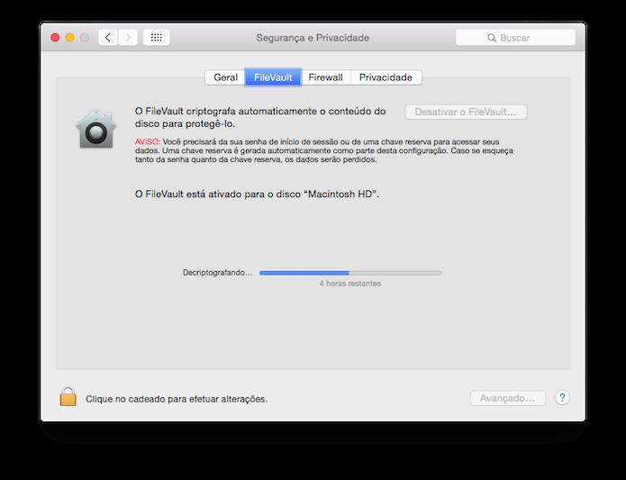 Criptografando o disco com o FileVault no OS X (Foto: Reprodução/Edivaldo Brito)