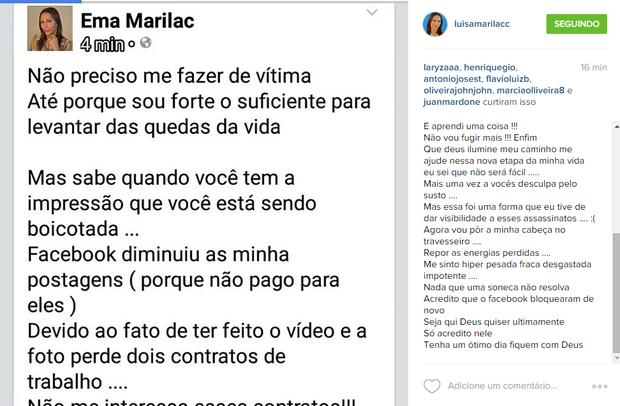 Post de Luisa Marilac (Foto: Reprodução/Facebook)