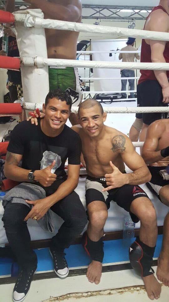 """BLOG: José Aldo recebe Thiago Silva em treino: """"Bom demais te rever"""""""