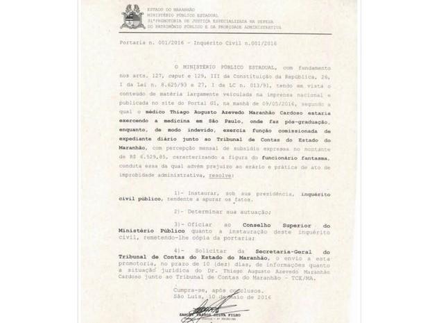 MPMA abriu um inquérito civil para investigar a situação do filho de Waldir Maranhão (Foto: Reprodução/ MPMA)