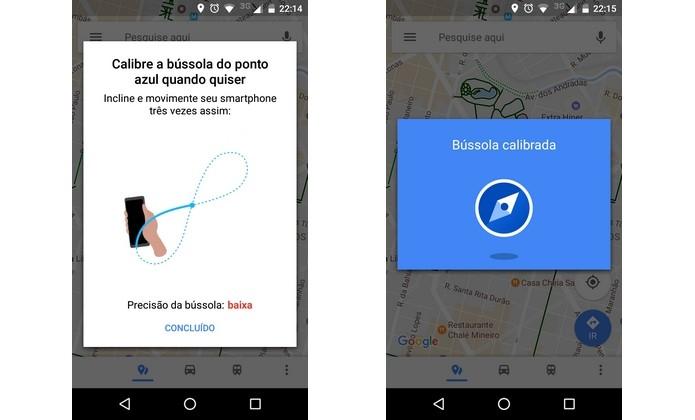 Bússola do Google Maps para Android calibrada (Foto: Reprodução/Raquel Freire)
