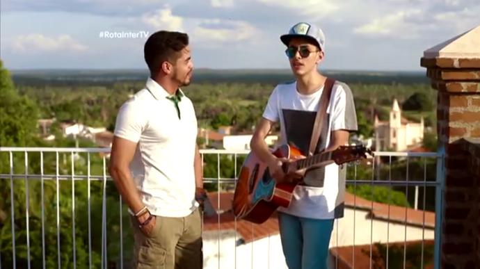 Leo Souza e Felipe Grillo no 'Rota Inter TV' (Foto: Sérgio Luís / Divulgação)