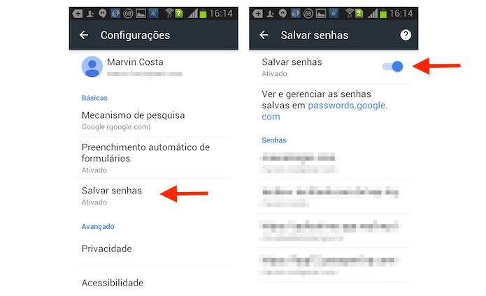 Desativando a função para salvar senhas do Google Chrome no Android (Foto: Reprodução/Marvin Costa)