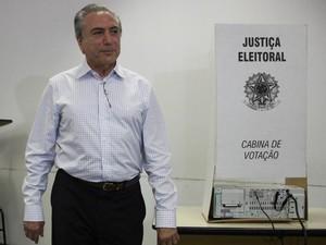 Vice-presidente Michel Temer votou em São Paulo (Foto: Leandro Martins/Futura Press/Estadão Conteúdo)