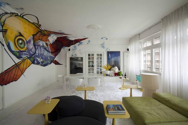 Casa de David Bastos com o grafite de Binho (Foto: Tuca Reines)