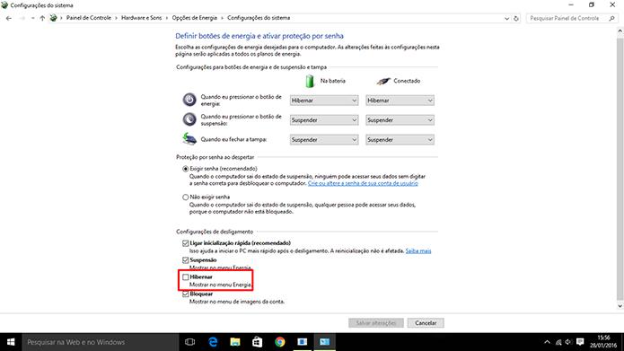 Windows 10 pode ter modo Hibernar adicionado ao botão de energia do Iniciar (Foto: Reproduão/Elson de Souza)