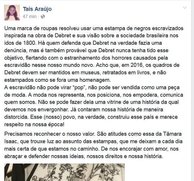 Taís Araújo comenta polêmica sobre estampa de escravos em roupa (Foto: Reprodução/Facebook)