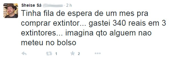 Usuário do Twitter fala sobre extintor (Foto: Reprodução / Twitter)