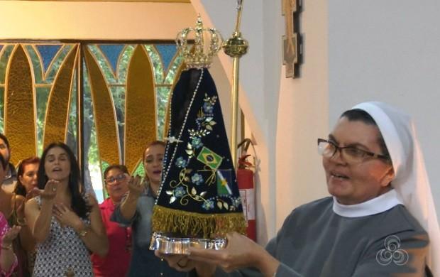 Imagem de Nossa Senhora Aparecida chega em Roraima (Foto: Bom Dia Amazônia)
