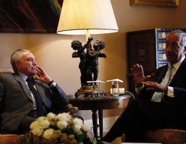 Presidente Michel Temer ao lado do presidente português, Marcelo Rebelo de Sousa (Foto: Reprodução/twitter)