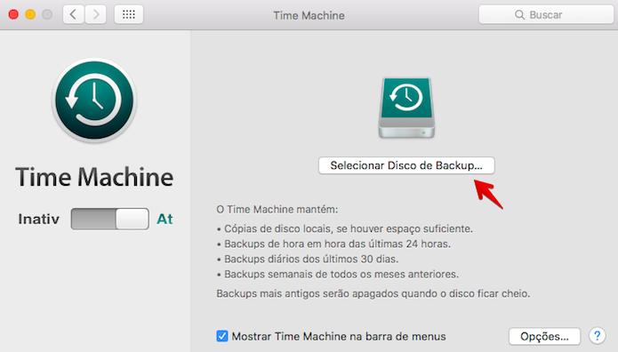 Selecione o disco para backup (Foto: Reprodução/Helito Bijora)
