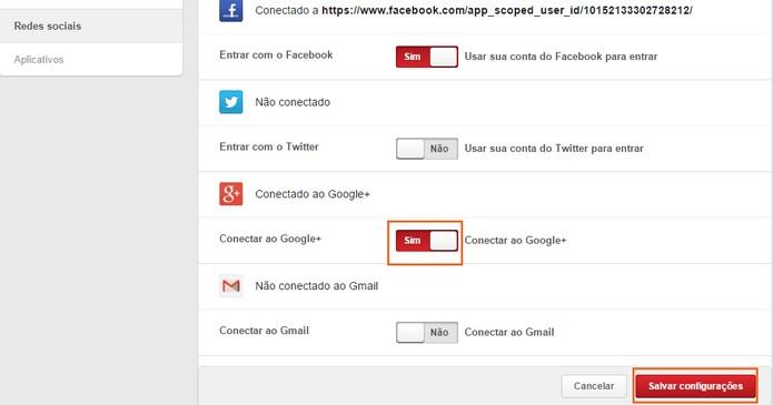 A conta do Google está integrada com o Pinterest (Foto: Reprodução/Barbara Mannara)