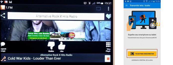 O app da rádio será transmitido na TV e pode ser desconectado quando preferir (Foto: Reprodução/Barbara Mannara)