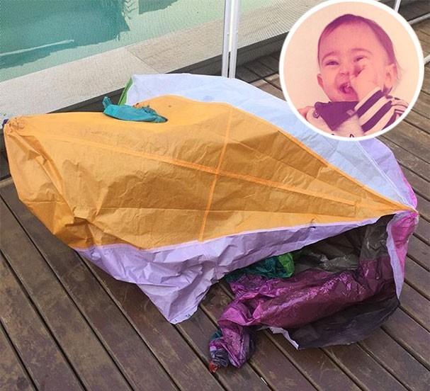 Balão que caiu próximo ao filho de Tainá Müller (Foto: Reprodução/Instagram)