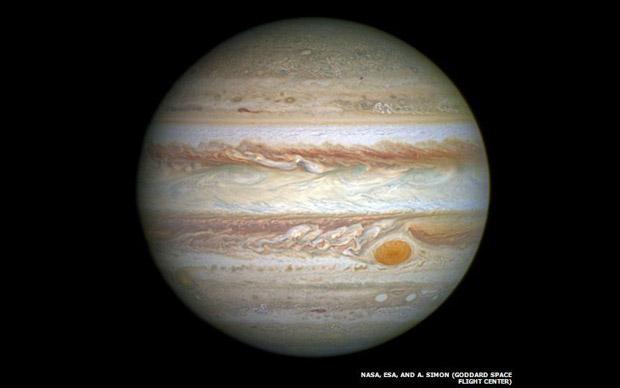 5. Júpiter, o maior dos planetas do Sistema Solar, em foto tirada pela Câmera de Campo Amplo Três do telescópio Hubble (Foto: NASA, ESA, and A. Simon)