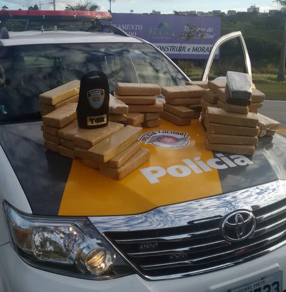 Foram apreendidos 58 tijolos de maconha, somando cerca de 49 quilos da droga (Foto: Divulgação/PRE)