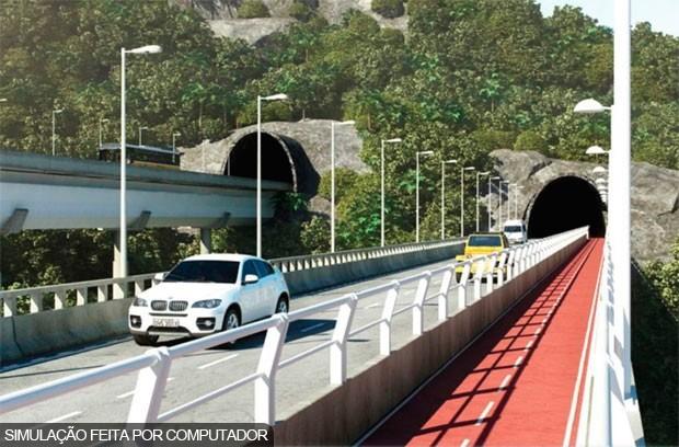 Simulação divulgada pela prefeitura mostra como deve ficar a via (Foto: Prefeitura do Rio/Divulgação)