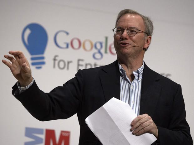 Eric Schmidt, presidente-executivo do Google, em convenção de startups (Foto: Dani Pozo/AFP)