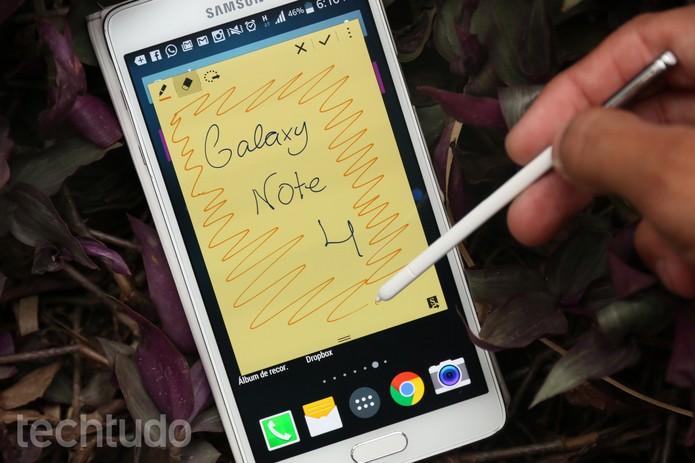 Lembrete de Ação do Galaxy Note 4 permite anotações rápidas com a S Pen (Foto: Lucas Mendes/TechTudo)