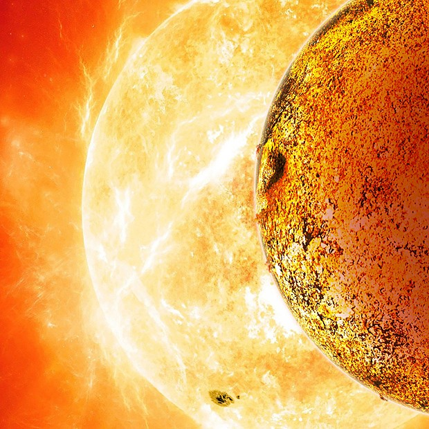Concepção artística mostra Kepler-78b orbitando sua estrela (Foto: David A. Aguilar/Nasa/AFP)