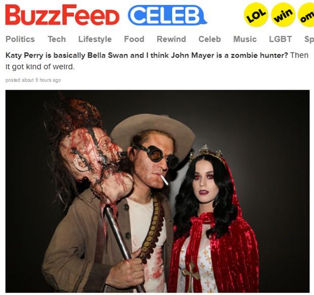 John Mayer e Katy Perry fantasiados para o aniversário da cantora na sexta (19) em Los Angeles (Foto: Reprodução/Buzzfeed)