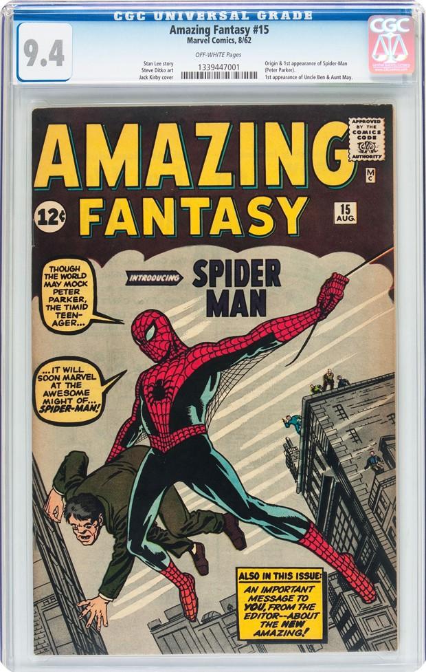 """Edição de 1962 da HQ """"Amazing Fantasy"""" número 15 (Foto: Heritage Auctions via AP)"""