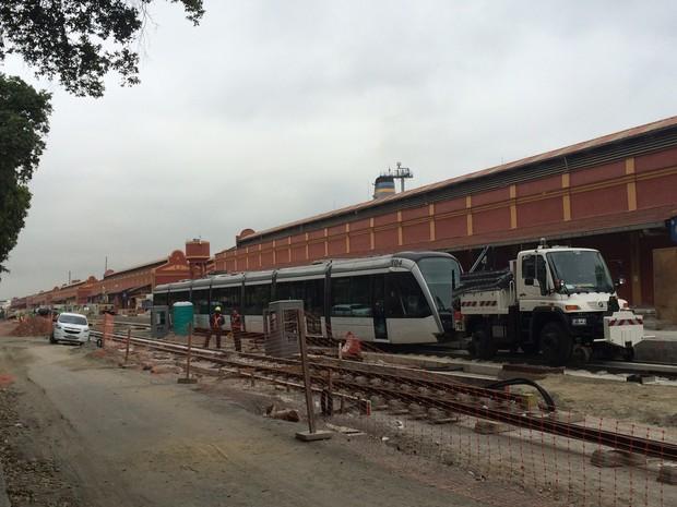 Prefeitura do Rio testa o VLT na Zona Portuária (Foto: Marcelo Elizardo/G1)