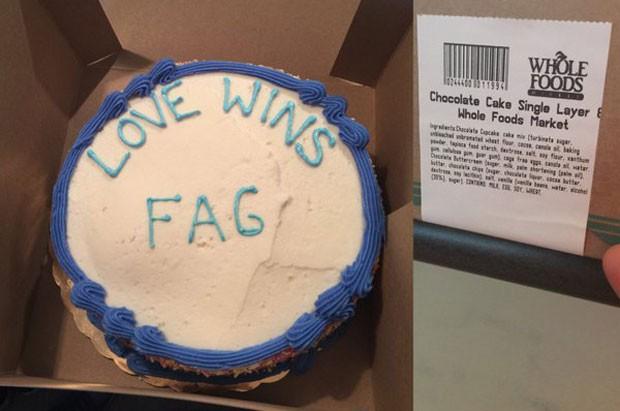 Bolo com mensagem homofóbica que Jordan Brown diz ter recebido em uma loja da Whole Foods em Austin, no Texas (Foto: Reprodução/Twitter/JenniLee)