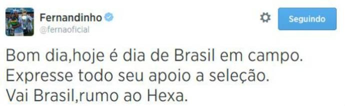 Fernandinho pede apoio dos brasileiros no jogo (Foto: Reprodução)