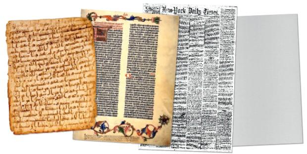 RENOVAÇÃO Montagem com  diferentes tipos de  papel: o Alcorão  no século VII, o códice  de Gutenberg,  ascensão dos jornais  e o sulfite. Ele mudou,  mas ainda é essencial (Foto: Reprodução)