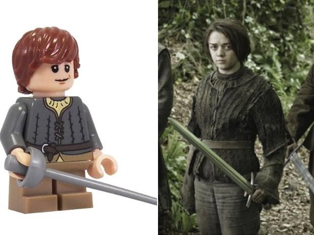 Versão em lego de Arya Stark e a personagem na série 'Game of thrones' (Foto: Divulgação)