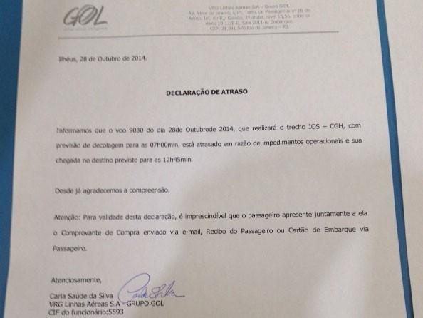 Documento voo cancelado (Foto: Fabiano Ferreira/Divulgação)