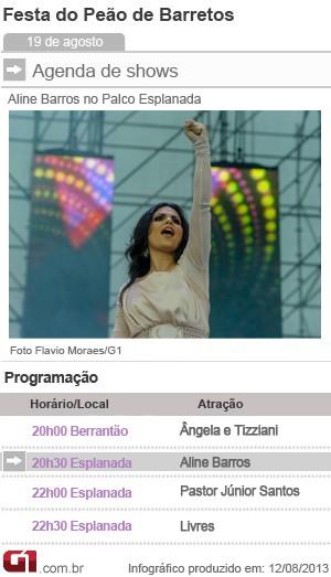 Programação de shows nesta segunda-feira (18) na Festa de Barretos (Foto: Arte/G1)