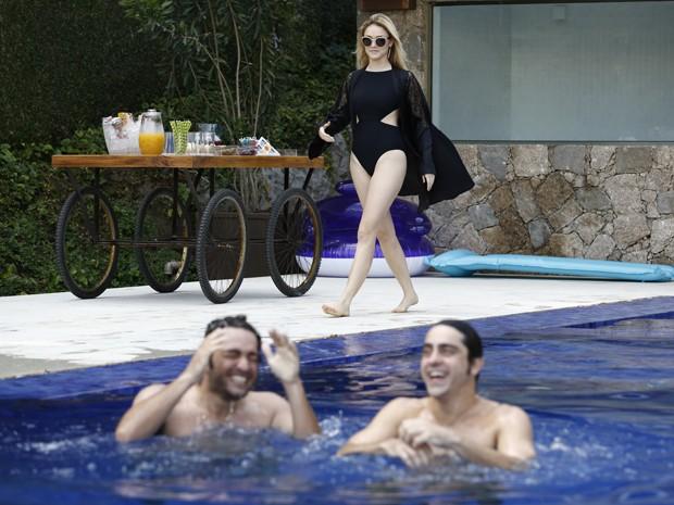 Trio se diverte em tarde descontraída (Foto: Fábio Rocha/TV Globo)