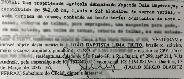 Certidão da fazenda Bela Esperança, comprada por Lima em 2005