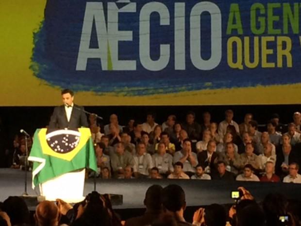 Aécio Neves fez discurso na convenção do PSDB após ter sido confirmado como candidato do partido à Presidência da República   (Foto: Amanda Previdelli/G1)