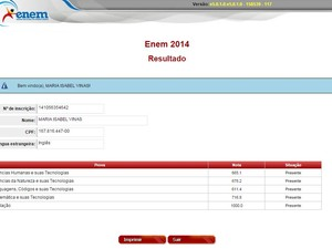 Aluna obteve média 734,3 na prova (Foto: Reprodução)