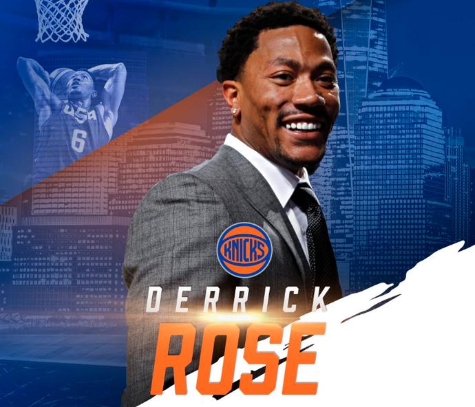 Por meio do Twitter, New York Knicks confirma a chegada de Derrick Rose (Foto: Reprodução / Twitter)