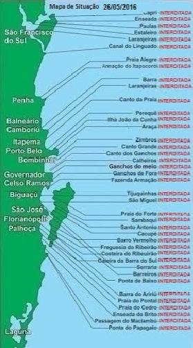 Áreas de cultivo de todo o litoral de SC foram interditadas (Foto: Divulgação)