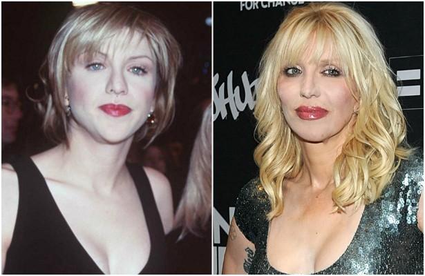 A roqueira Courtney Love em dezembro de 1996, quando tinha 32 anos, e agora, aos 50. (Foto: Getty Images)