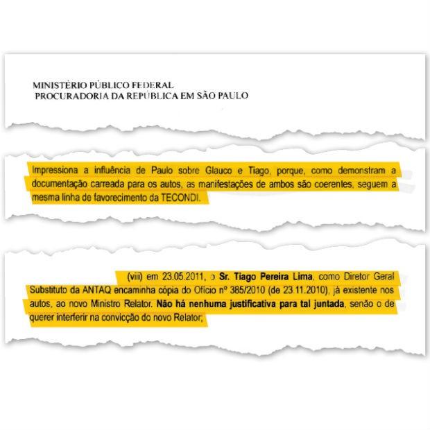 Documento do Ministério Público sobre improbidade na Antaq (Foto: Reprodução)