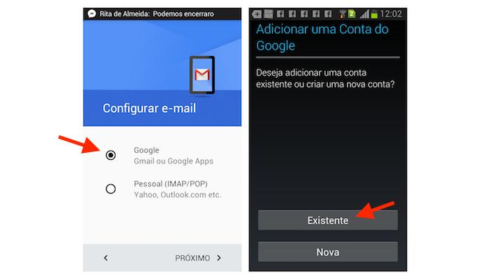 Iniciando o processo para logar uma conta do Gmail no celular (Foto: Reprodução/Marvin Costa)