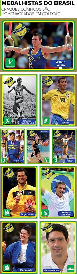 MOSAICO - Cards medalhistas (Foto: Editoria de Arte)