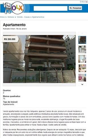 Anúncio do apartamento (Foto: Reprodução/ OLX)