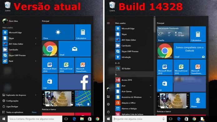 Windows 10 ganhará novo menu Iniciar de acordo com Build 14328 (Foto: Reprodução/Elson de Souza)