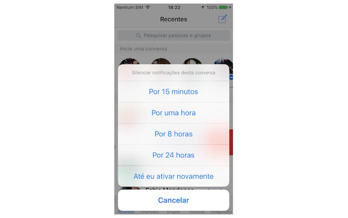 Silenciando uma conversa do Facebook Messenger no iPhone (Foto: Reprodução/Marvin Costa) (Foto: Silenciando uma conversa do Facebook Messenger no iPhone (Foto: Reprodução/Marvin Costa))