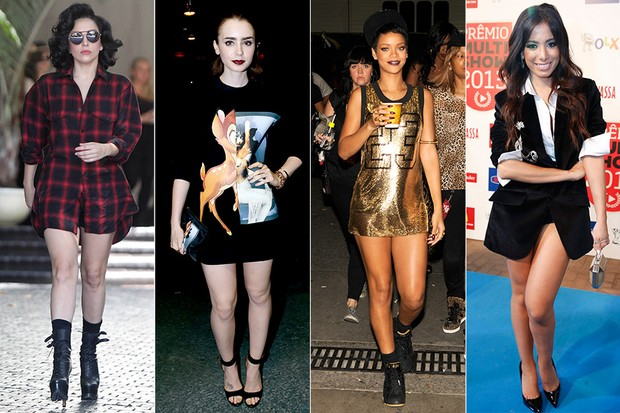 MODA - Look pantless - Lady Gaga, Lily Collins, Rihanna e Anitta (Foto: Getty Images | AgNews)